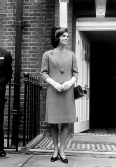 """jfk-and-jackie: """"Jackie Kennedy photographed outside her sister Lee's home in England, 1962. """""""