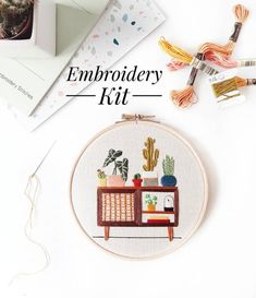 10 Unique Etsy Products For Staying In Diy Embroidery Kit, Embroidery For Beginners, Embroidery Stitches, Embroidery Patterns, Contemporary Embroidery, Modern Embroidery, Craft Kits, Diy Kits, Diy Design