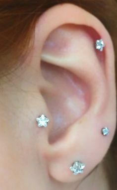 Multiple Ear Piercing Ideas- Swarovski Star Tragus, Cartilage, Helix Earrings at MyBodiArt.com - Star Tragus Earring, Cartilage Earring, Helix Earring, Cartilage Stud, Tragus Stud, Helix Piercing, Tragus Jewelry,Cartilage Piercing,Silver – MyBodiArt