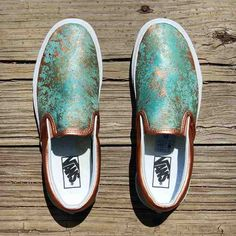 The base shoe used is a premium leather Vans Classic Slip-On. It is completely customized with Chef's now signature patina effect. Copper Metallic accents complete the look. The result is an amazing and beautiful piece of wearable art. Painted Vans, Painted Shoes, On Shoes, Me Too Shoes, Shoe Boots, Vans Motif, Custom Vans Shoes, Custom Slip On Vans, Western Shoes