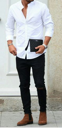30 Awesome Black Jeans Outfit Mens to Try – Watch Center Black Shirt Outfits, Blazer Outfits Men, Black Jeans Outfit, Casual Jeans, Men Casual, Casual Menswear, Casual Fall, Smart Casual, Casual Shirts