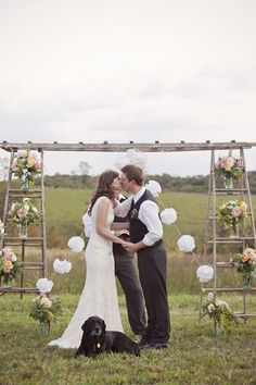 Use ladders to make a DIY ceremony backdrop for your wedding