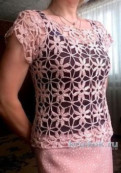 blusa de verano de motivos. Trabajar Elena Shevchuk tejido de punto y ganchillo esquema