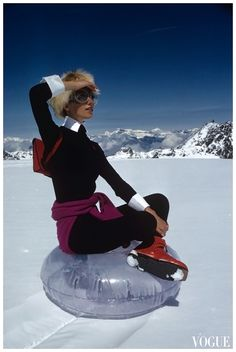 Marisa Berenson on glacier.  Photo by Arnaud De Rosnay.  Vogue, November 1968.