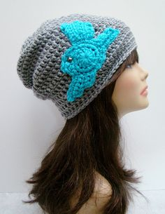 FREE SHIPPING - Unisex Fly Away Slouchy Crochet Beanie - Heather Gray with Teal Blue Sparrow