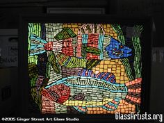 """""""One Fish, Two Fish"""" - stained glass mosaic light box with light on - hand cut glass tiles, joints are grouted"""