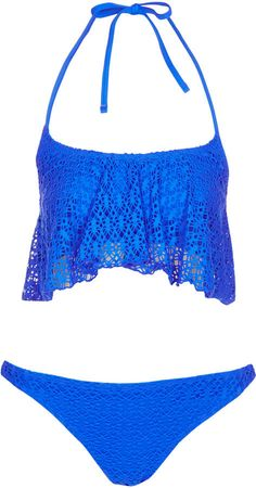 Love the bright blue! Topshop Blue Crochet Shelf Bikini #bikini