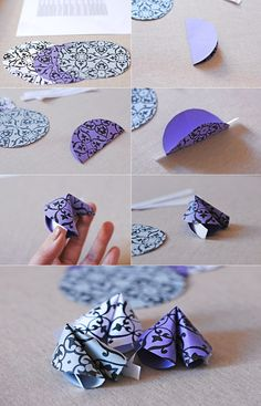 DIY Fortune Cookies with Origami Paper-- Valentines? Diy Origami, Origami Paper, Diy Paper, Paper Crafts, Origami Boxes, Dollar Origami, Origami Ball, Oragami, Origami Owl Lockets