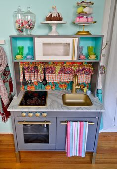 Wood Play Kitchen Ikea scarlette's play kitchen makeover (aka mommy gets crafty | follow