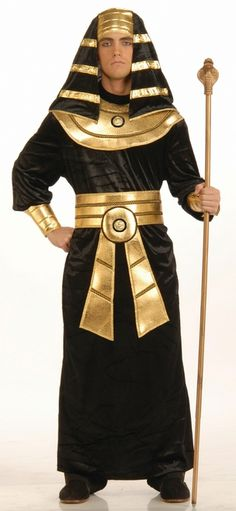 Men's Egyptian Pharoah Halloween Costume - This is an amazing black and gold Pharaoh costume that is made of superior quality. Sure not to disappoint, this is the perfect choice for your King Tut costume this Halloween. This costume includes a one piece black velour floor length tunic with attached gold lame cuffs and an attached gold lame Egyptian collar. #pharoah #egypt #mens #yyc #calgary #costume