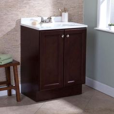 glacier bay allinone 24 in w bath vanity combo in chestnut with cultured marble vanity top in white