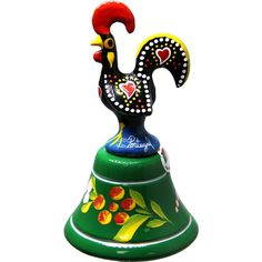 Vintage Traditional Portuguese Aluminum Decorative Rooster Figurine With Bell