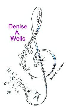 Treble Clef and Stars Tattoo Design by Denise A. Wells