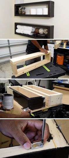 Here's a DIY that shows you how to create an inexpensive modern floating shelf with basic materials found at your local hardware store. #DiyHomeDecor