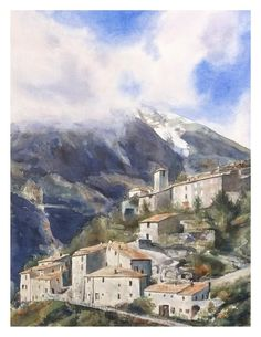 Watercolor painting, landscape painting, watercolor village, Provence France Original watercolour painting by JP Wisniewski Watercolor Landscape, Watercolour Painting, Landscape Art, Landscape Paintings, Arches Paper, How To Make Paint, Provence France, Artwork, Photos