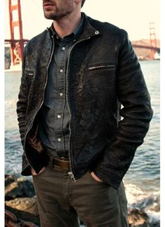 Playing it Cool #ChrisEvans Leather Jacket #apparel #outfits #menswear #fashion #leatherjacket