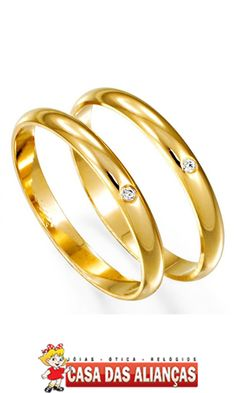 82ab5f424d0 Aliança de Ouro Abaulada Lisa com Brilhante - AS1211