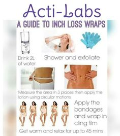 Going out on the town? Have a new dress that you need to fit into? Acti-Labs Inch loss wraps can help you! Just apply the gel/lotion to the area you want to see results and wrap it up for 45 min and boom you will lose a couple of inches! 10-12 uses per bottle $22.50 or $27.50! Facebook.com/actilabswithkellyross