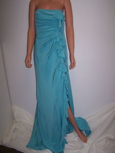 LUCA LUCA Size 42 / US 6 NWT Silk Strapless Turquoise Gown Dress  $3,450 Italy #LucaLuca #BallGown #Formal