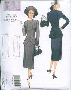 1947 Sewing Pattern Vintage styled Vogue 1019 by OhSewCharming, $14.00