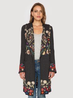 Johnny Was Clothing BIYA embroidered cotton knit RARSEN LONG HOODIE Jacket in Heather Charcoal Grey