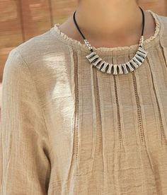 Crinkle Chest Irregular Hem Linen Tunic: