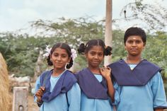 School girls just coming home from school in village where we had eye camp