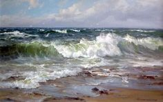 A collection of original paintings by the world renowned seascape artist Charles Vickery. Ocean Scenes, Beach Scenes, Seascape Paintings, Landscape Paintings, Watercolor Paintings, Sea Art, Watercolor Landscape, Ocean Waves, Beautiful Paintings