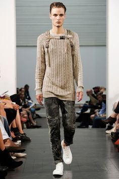 WOOD WOOD, SS11: tone-on-tone cable knit backpack heart disaster! and the pant.