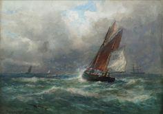Thomas Bush Hardy - Shipping scene with gulls,. Gulls, His Travel, North Yorkshire, Sailing, Art Gallery, Illustration Art, Ships, Scene, Water