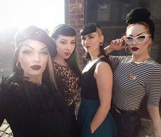 """Cherry Lony  (@cherry.lony) """"Fav' gang ♥✊"""" Rockabilly Pin Up, Rockabilly Fashion, Rockabilly Outfits, Retro Fashion, Vintage Fashion, Vampire Fashion, Badass Style, Punk Goth, Goth Girls"""