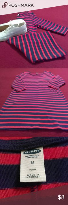 Old Navy dress This red and navy blue striped dress is in A-1 condition. It is heavy 100% cotton with 3/4 length sleeves. This dress is not only cute but very comfortable. Old Navy Dresses Midi