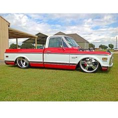 """""""Hot Wheels - Chevrolet C10 running the @porterbuilt mild dropmember front and rear gives it a great stance, man those wheels and offset suit it perfectly.…"""""""