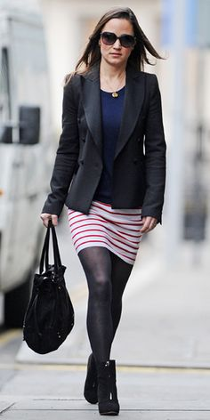 Professional attire; Striped skirt, black blazer, navy top/neutral top, black tights, ankle boots (Pippa Middleton)