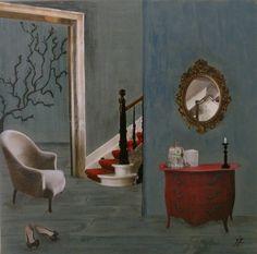 """""""La commode rouge"""" : Acrylique et collage sur toile de 30x30cm."""