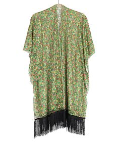 Loving this Green Floral Lace Fringe Kimono on #zulily! #zulilyfinds