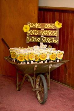Sunflower Wedding Ideas and Wedding Invitations Sunflowers, wedding favors, wheel barrow, country wedding, fall wedding Sunflower Wedding Favors, Unique Wedding Favors, Trendy Wedding, Unique Weddings, Perfect Wedding, Fall Wedding, Dream Wedding, Diy Wedding, Wedding Rustic