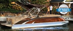 Bennington 2575QCW Mahogany Edition. The entire exterior is real mahogany wood. Ivory, pillowtop upholstery, elevated helm with extra wide recliner and power assist steering.  Find your #BennyStyle by visiting us online at www.BenningtonMarine.com or visit your local Bennington Pontoon Boat dealer.