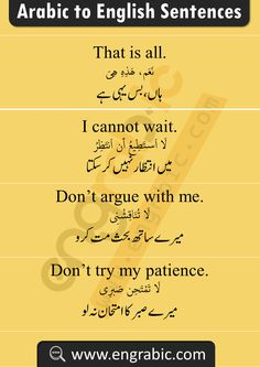 Spoken English Sentences with Arabic and Urdu. Spoken Arabic Phrases with translation in English and Urdu with PDF. Learn Arabic through these sentences with meanings in English and Urdu English Learning Books, English Conversation Learning, English Learning Spoken, English Writing Skills, English Language Learning, Basic English Sentences, Learn English Grammar, Learn English Words, English Study