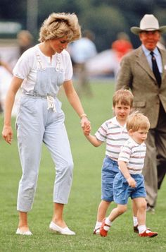 June 28, 1987: Princess Diana with Prince William and Prince Henry at a polo match at Smiths Lawn, Windsor, Berkshire.
