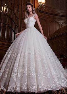 Buy discount Romantic Tulle Sheer Jewel Neckline Natural Waistline Ball Gown Wedding Dress With Lace Appliques & Belt at Dressilyme.com