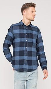 Plaid linen shirt in blue