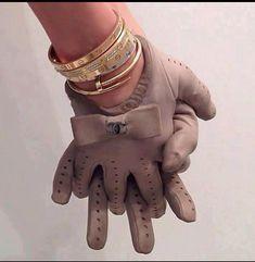 Chanel gloves & cartier love bracelet stack