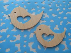 CNC cut bamboo wedding birds.