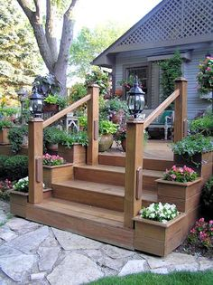Outdoor Steps Flower Planters Building Deck Stairs Handrails For (front porch stairs planters) Porch Stairs, Front Stairs, Front Deck, House Front, Stairs For Deck, Deck Stair Railing, Front Yards, Deck Steps, Outdoor Steps