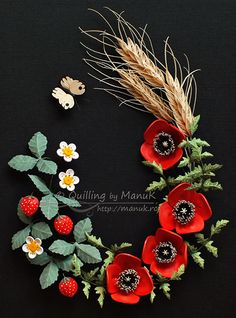 Quilled Poppies, Wheat and Strawberries with a Butterfly - Summer in a Frame - Quilling by ManuK (Manuela Koosch)