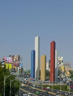 Luis Barragan Towers in Mexico City suburbs. Torres de Satélite sculpture