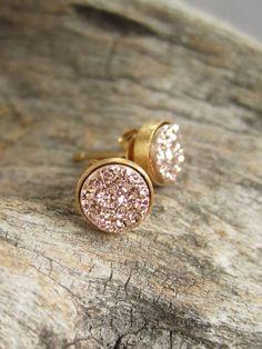 Tiny Rose Gold Druzy Earrings Titanium Drusy by julianneblumlo