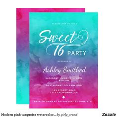 Modern pink turquoise watercolor elegant Sweet 16 CardA bright modern pink turquoise watercolor elegant Sweet 16 birthday party invitation with white modern sweet 16 swirls typography and hand painted watercolor in bright pink turquoise ombre.