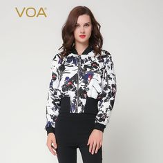 Find More Down & Parkas Information about VOA sport parka women winter 4xl plus size thickening short jacket coat white printing silk cotton padded colthes M6137,High Quality parka women winter,China parka women Suppliers, Cheap women winter from VOA Flagship Shop on Aliexpress.com